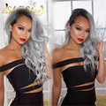 Free Shipping Ladies Sliver Grey Ombre Wig Dark Roots Long Curly Wave Wig Natural Black Grey Two Tone Wig Synthetic Peluca
