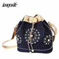 New Women Demin Chain Handbags Rhinestones Shooulder Crossbody Bag Vintage Style Rivet Tassel Jean Cloth Bucket Bolsa Feminina