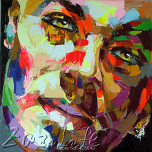 Palette knife portrait Face Oil painting christmas figure canva Hand painted Francoise Nielly wall Art picture for living room43