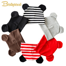 New Cartoon Baby Hat for Girls Cotton Beanie Cap with Ears Elastic Kids Hats Toddler Accessories Boy 21 Colors