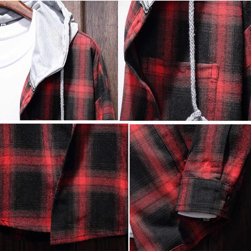 2019 봄 가을 남성 슬림 피트 남성 긴 소매 후드 셔츠 남성 격자 무늬 셔츠 남성 캐주얼 남성 셔츠 대형 5XL