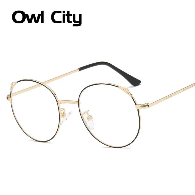 339f5fcea Cat Eye Glasses Women Round Eyeglasses Frames Metal Luxury Brand Eye Glasses  Frame Clear Lenses Cateye
