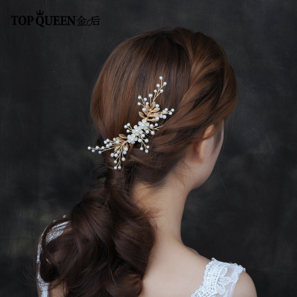 TOPQUEEN HP178 Wedding Hair Accessories Alloy Leaves Bridal Hair Comb For Wedding Handmade White Flower& Pearl  Hair Comb