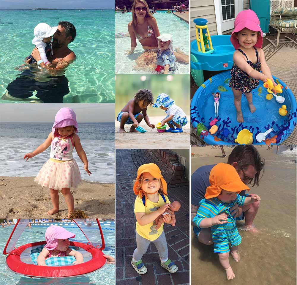 0-5 Years Kids Boy Girl Swimming Flap Cap Summer Baby Sun Hat Children Outdoor Neck Ear Cover Anti Uv Protection Beach Caps