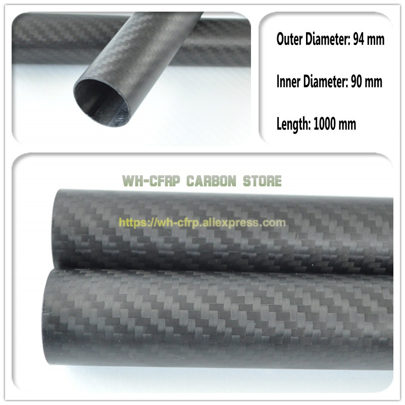 94mm OD x 90mm ID Carbon Fiber Tube 3k 1000MM Long (Roll Wrapped) carbon pipe , with 100% full carbon, Japan 3k improve material