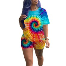 2019 Summer Print 2 Piece Set Women Tie Dye T Shirt And Shorts Short Tracksuit Festival Clothing Matching Sets