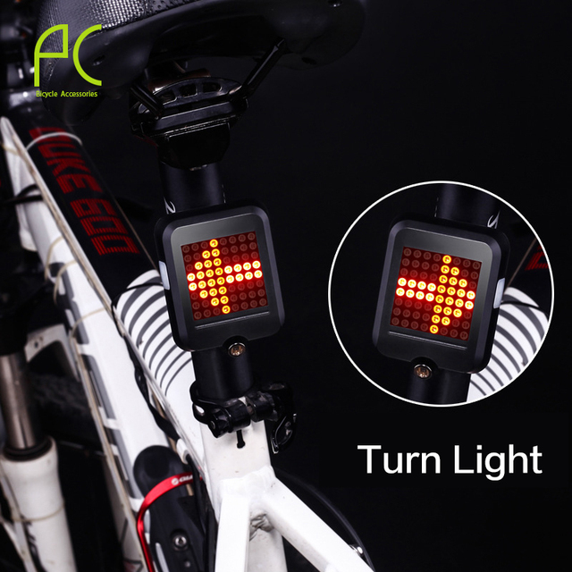 PCycling Bicycle Intelligent Turn Taillight Signal Light Brake Light Projection Lamp 64 LED Infrared Warning Light Accessories