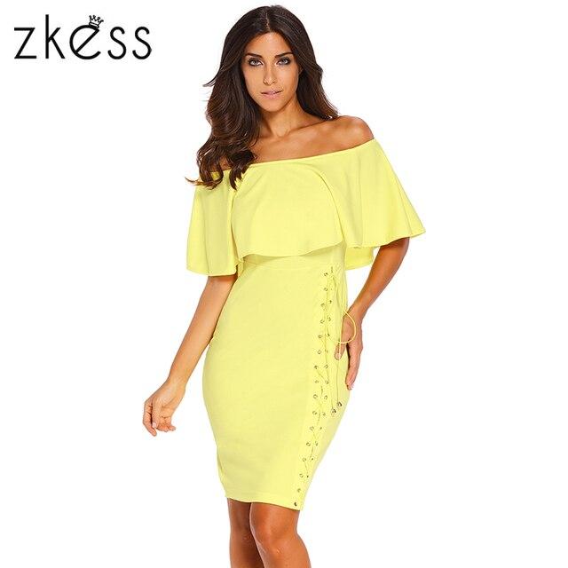 503bf333fb0 US $29.19 |Zkess Sexy Bodycon Dress off Shoulder Ruffles Slash Neck Frilly  Yellow Black Royal Blue Flouncing Slim Casual Midi Dress LC60936-in Dresses  ...