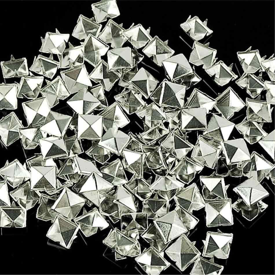 WITUSE بيع 10 مللي متر الفضة الهرم مربع فاسق ترصيع البقع المسامير لالجينز قمصان أساور 100 قطعة