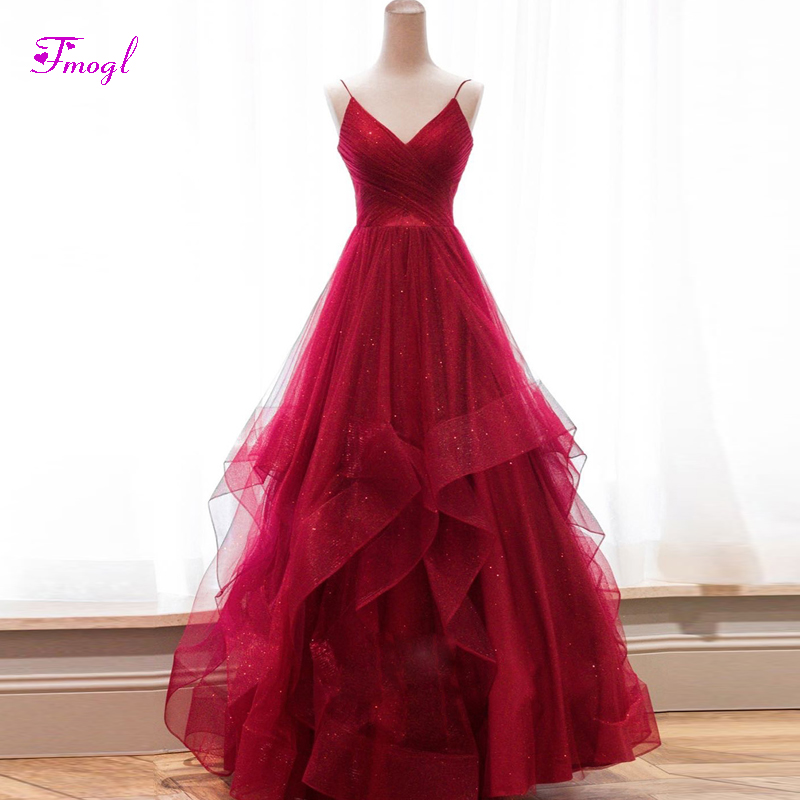 Celebrity Wedding Dresses 2019: Fmogl Sexy V Neck Lace Up A Line Burgundy Evening Dresses
