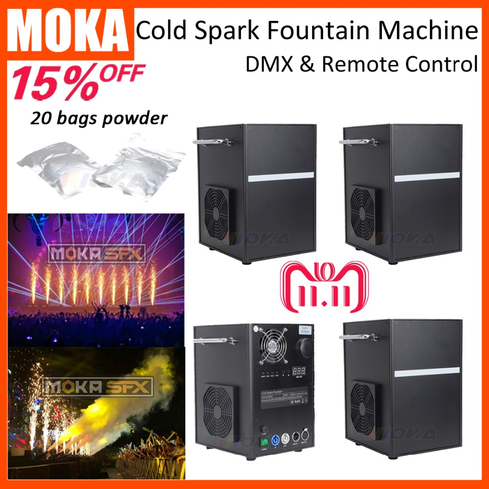 4 PCS/LOT cold spark fountain machine with 20 bags powder Stage Effect Machine cold sparklers DMX512 Remote Control for wedding цена