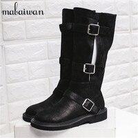 Autumn Winter Women Punk Style Knee High Boots Black Vintage Flat Booties Buckles Design Botas Militares