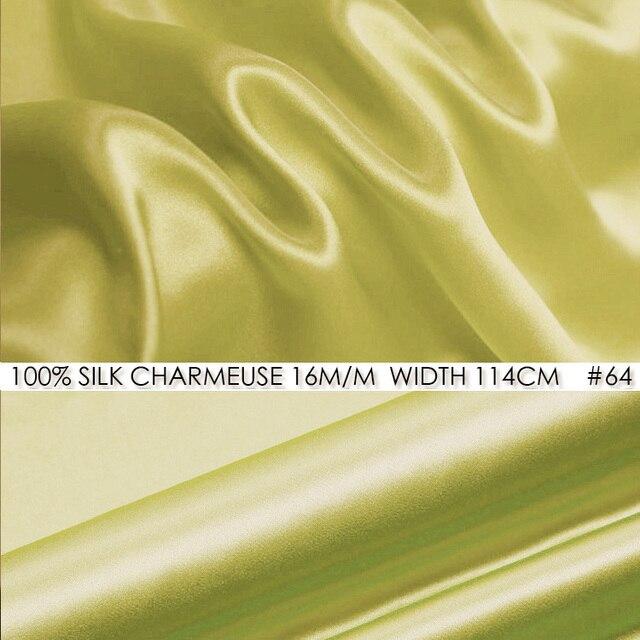 9329950ef9d618 100% SILK CHARMEUSE SATIN Fabric 114cm width 16momme Pure Mulberry Silk  Fabric Wedding Decoration Fabrics Light Yellow NO 64
