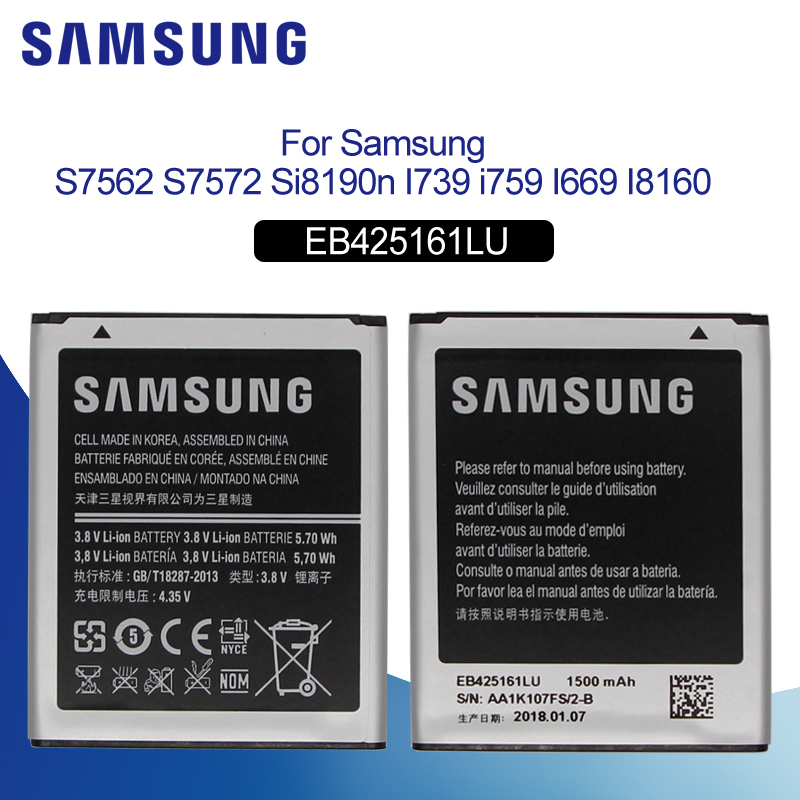Original <font><b>Battery</b></font> For SAMSUNG S7562 EB425161LU 1500mAhFor Samsung J1 Mini S7560 S7568 S7572 S7580 <font><b>i8190</b></font> I8160 S7582 Phone <font><b>Battery</b></font> image