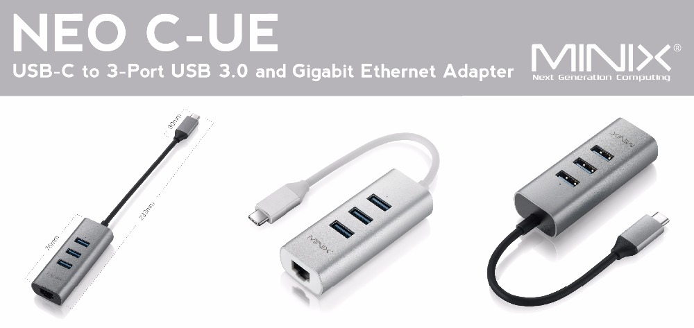 MINIX NEO C-UE (USB-C to 3-Port USB 3.0 and Gigabit Ethernet Adapter) - Product Description_