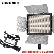 Yongnuo YN600 II YN600L II 5500K LED lumière vidéo + Falcon yeux adaptateur secteur ensemble Support télécommande par téléphone App pour Interview