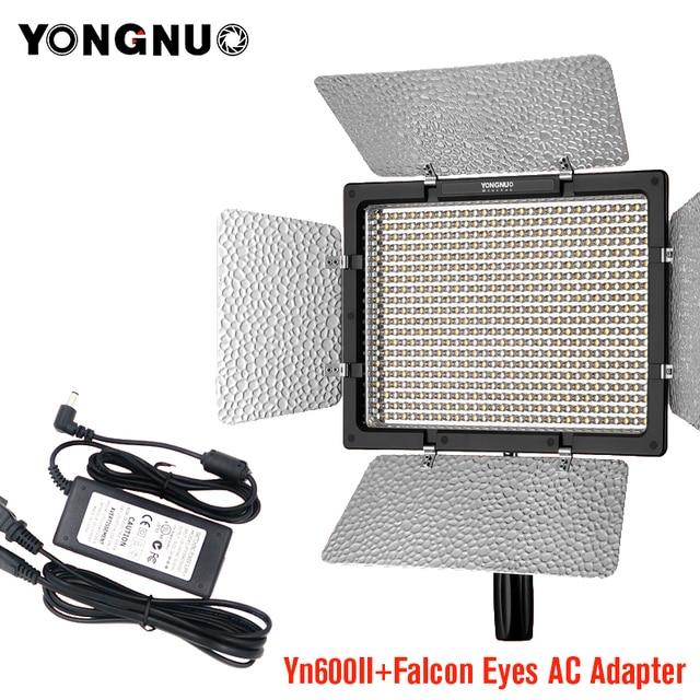 Yongnuo YN600 Ii YN600L Ii 5500K Led Video Light + Falcon Eyes Ac Adapter Set Ondersteuning Afstandsbediening Door telefoon App Voor Interview