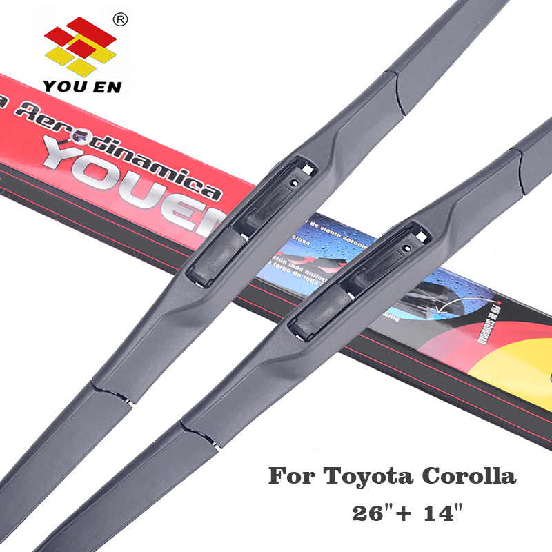 "YOUEN Auto Car Windshield Wiper Blade For Toyota Corolla 2007 2008 2009 2010 2011 2012 2013 2014 26""+14""Rubber Windscreen Wipers"