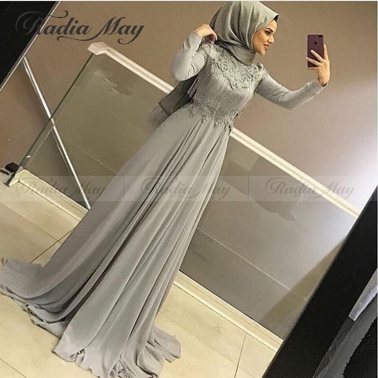 Elegant Silver Grey Chiffon Long Sleeve Muslim Evening Dress with Hijab Appliques Beaded Tassel Abaya Kaftan Dubai Prom Dresses