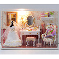 Dollhouse Miniature DIY Kit Light Fishing Dressing Room & All furnitures/English instruction