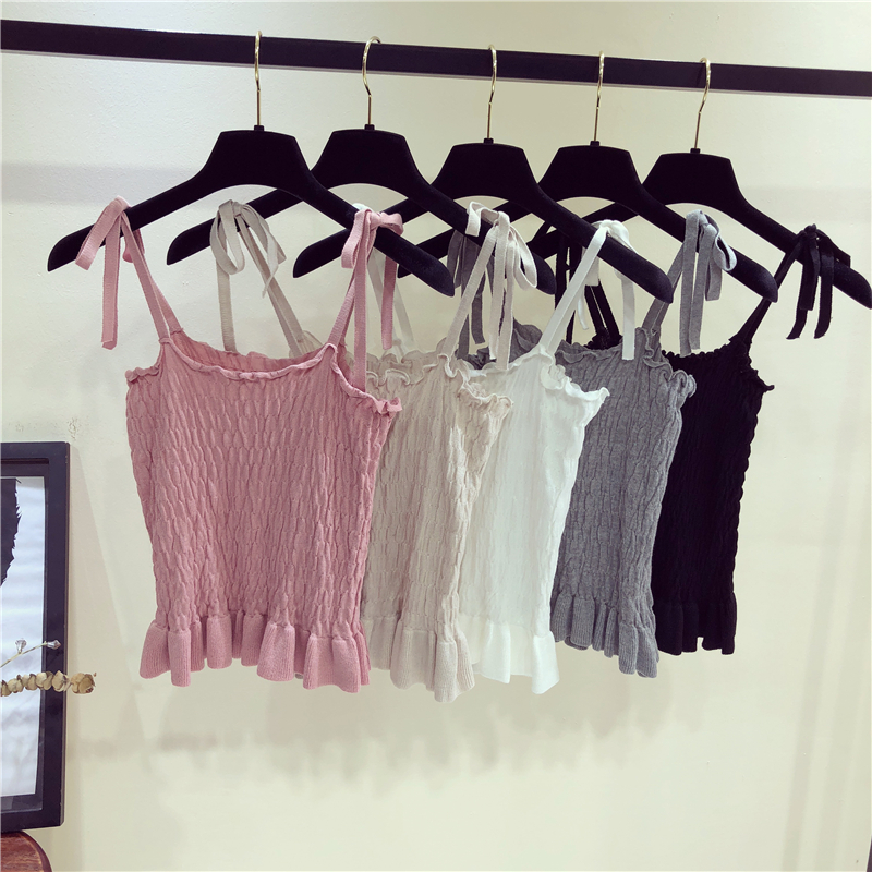 Summer Women's Fashion Ruffles Cropped   Tanks     Tops   Girls Knitted Camis crop   Tops   Thin Knitwear for Female