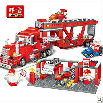 Banbao 8762 Container Truck Transport 718 pcs Plastic Model Building Block Sets Educational DIY Bricks Toys Christmas gift banbao 8313 290pcs fire fighting ladder truck building block sets educational diy bricks toys christmas kids gift