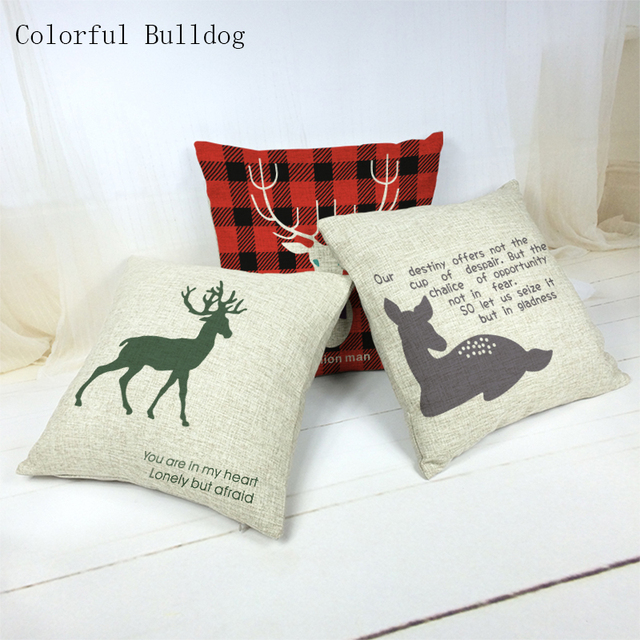 Cushion Cover Brand Stylish Plaid And Striped Deers Cotton Almofadas  45x45Cm Square Home Linen Cotton Printed