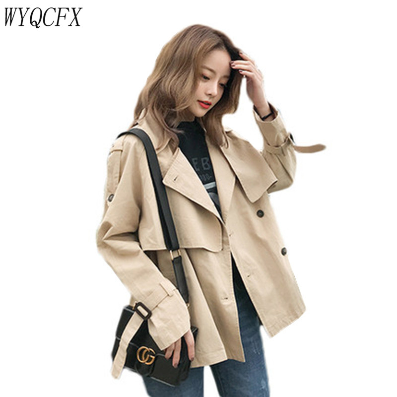 Plus Size Women's Casual Khaki Short   Trench   Coat Fashion Double Breasted Spring Windbreaker Female Loose Solid Color Outwear