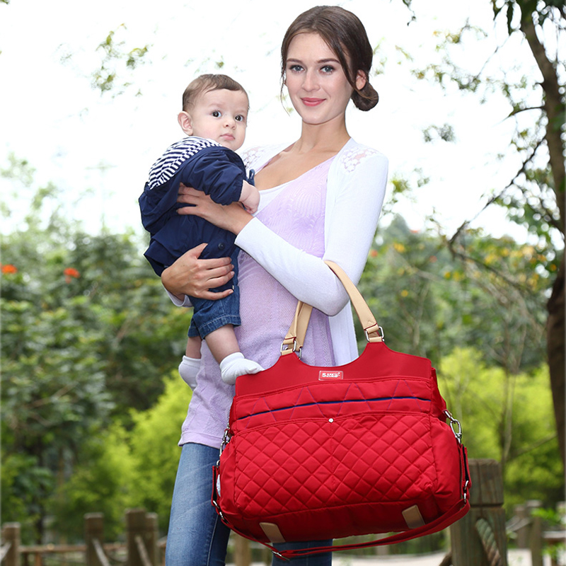 New Brand Fashion Mummy Bag Argyle Checked Quilted Baby Diaper Nappy Bag Baby Bag