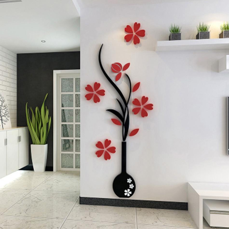 1 Pieces 3d Plum Flower Diy Floral Wall Decor Fashion Stickers Wall Art Home Living Room Vinyl