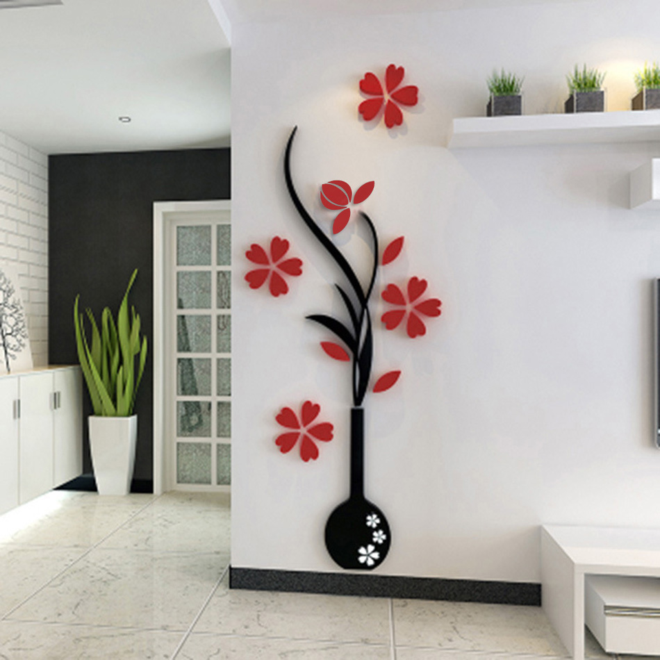 (1/Pieces) 3D Plum Flower DIY Floral Wall Decor Fashion Stickers Wall Art  Home Living Room Vinyl Material N2025 In Wall Stickers From Home U0026 Garden  On ...