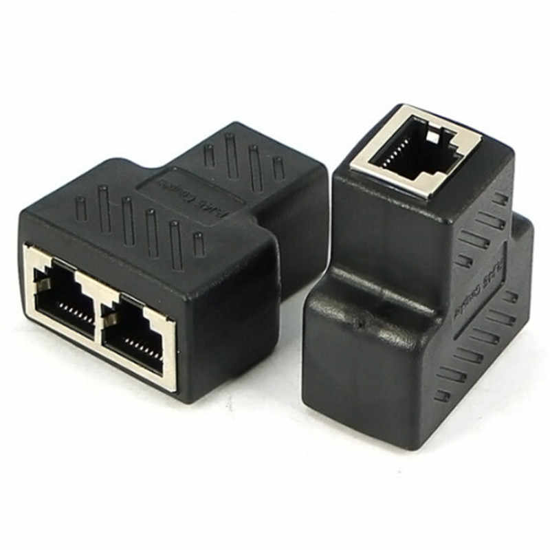 1 に 2 方法 LAN イーサネットネットワークケーブル RJ45 メススプリッタコネクタアダプタ用ノートパソコンのドッキングステーションドロップ船