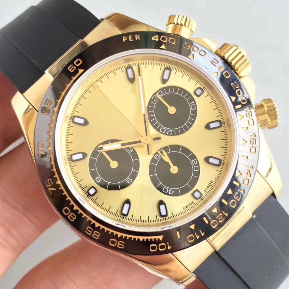 Hot Sale Luxury day Tona Mens Watch Automatic Mechanical 18ct Gold Rubber Strap AAA Quality Male Wristwatch 116610 116600 WatchHot Sale Luxury day Tona Mens Watch Automatic Mechanical 18ct Gold Rubber Strap AAA Quality Male Wristwatch 116610 116600 Watch