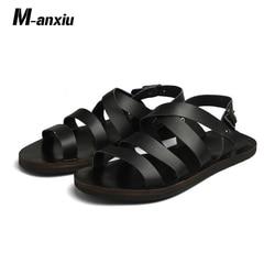 M-anxiu 2019 New Design Summer Antiskid Gladiator Genuine Leather Buckle Strap Sandal Men Casual Flat Rubber shoes