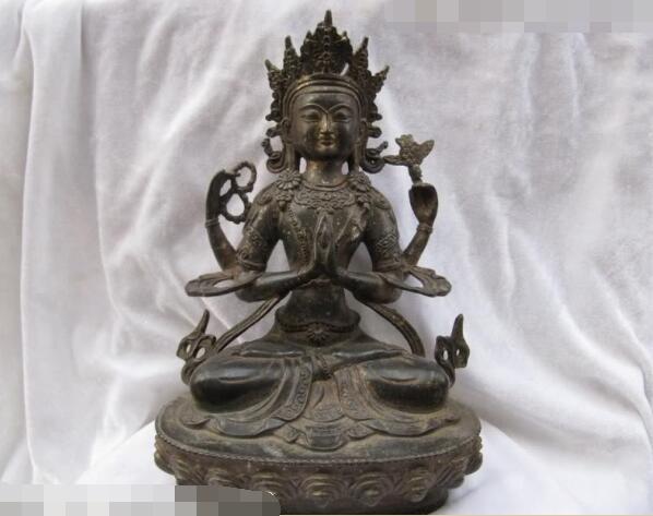 Ancient Bronze gilding Buddha Old Temple God Statue Antique Bodhisattva
