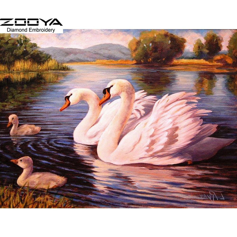 Modern Art Painting Diy Diamond Painting Resin Cabochon Whole Square Diamond Embroidery Swan Home Decoration Needlework BJ107(China)