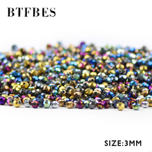 BTFBES 200pcs Football Shape Austrian crystal 3mm plated color Round Faceted Loose beads Jewelry bracelet accessories making DIY