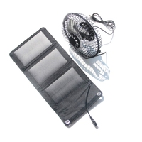 USB Fan 6Inch Cooling Ventilation Fan Foldable 5W Solar Panel Charger Powered for Outdoor Traveling Fishing Home Free Shipping