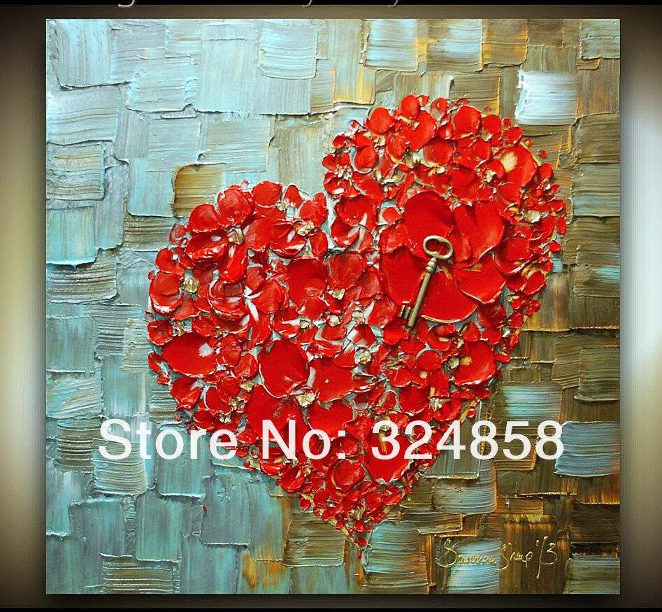 acryl abstrakte rotes herz kirschblüte moderne palette messer Ölbild ...