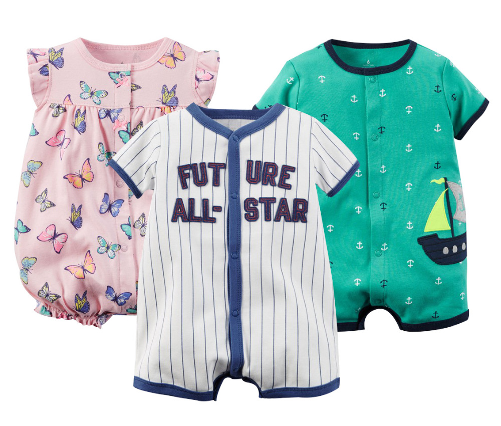 Marka Baby Pajacyki Letnie ubrania dla dziewczynek 2020 Baby Boy Odzież Moda Noworodka Ubrania Roupas Bebe Niemowlę Kombinezony