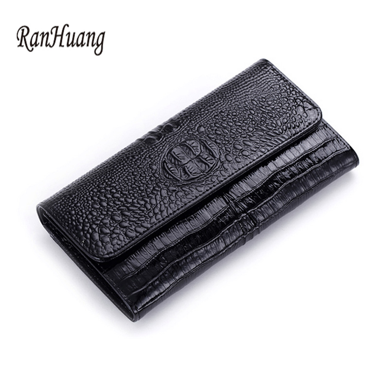 ФОТО RanHuang Women Alligator Genuine Leather Wallet Fashion Famous Brand Wallets High Quality Ladies Purses Portefeuille Femme A196