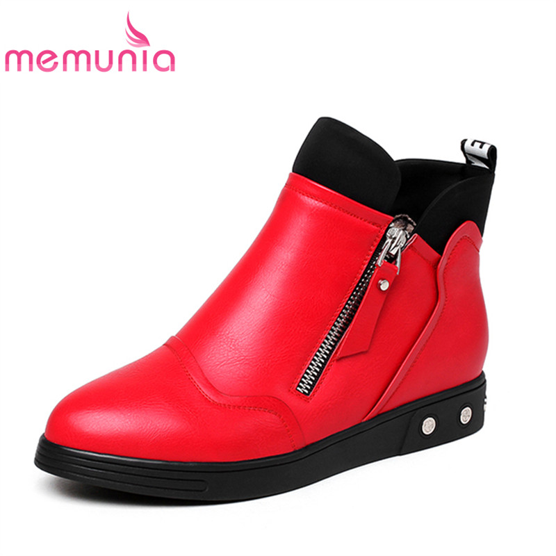 ФОТО MEMUNIA 2017 new arrival fashion women ankle boots for autumn spring ladies shoes with pu soft leather leisure female boots