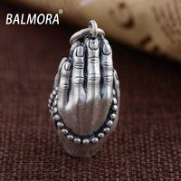 BALMORA Vintage 100 Real 990 Pure Silver Jewelry Buddhistic Pendants For Necklaces Men Male Accessories Gifts