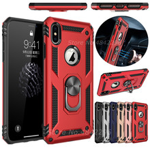 New Magnet Armor Shockproof Case For iPhone 6 6S 7 8 Plus XS Case For iPhone X XS XR XS Max Finger Ring Holder Phone Cover Coque цена и фото