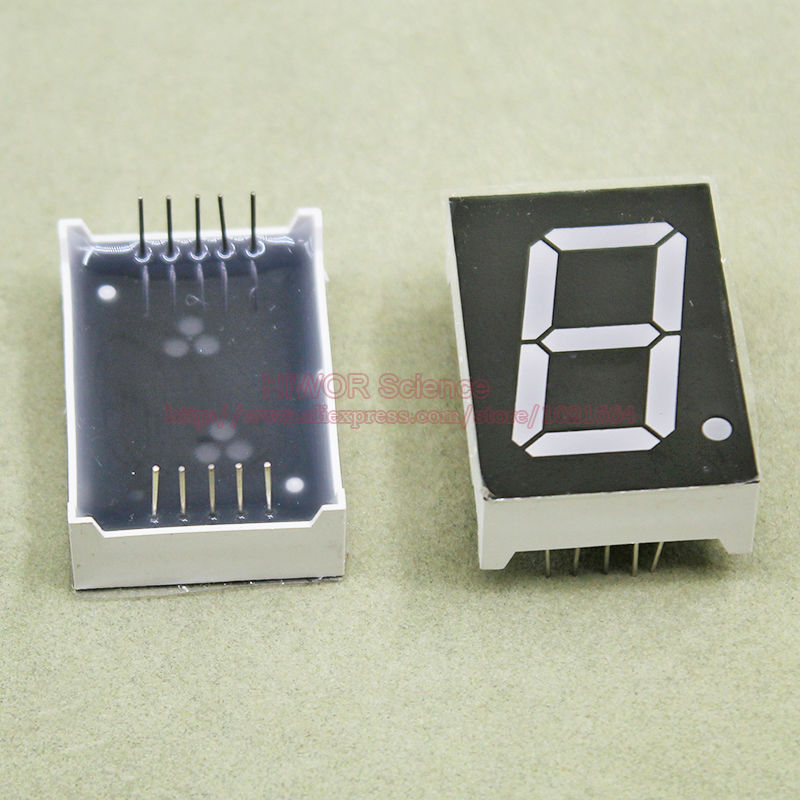 (10pcs/lot) 10 Pins 10011AR 1 Inch 1 Bit Digit 7 Segment Red LED Display Share Common Cathode Digital Display