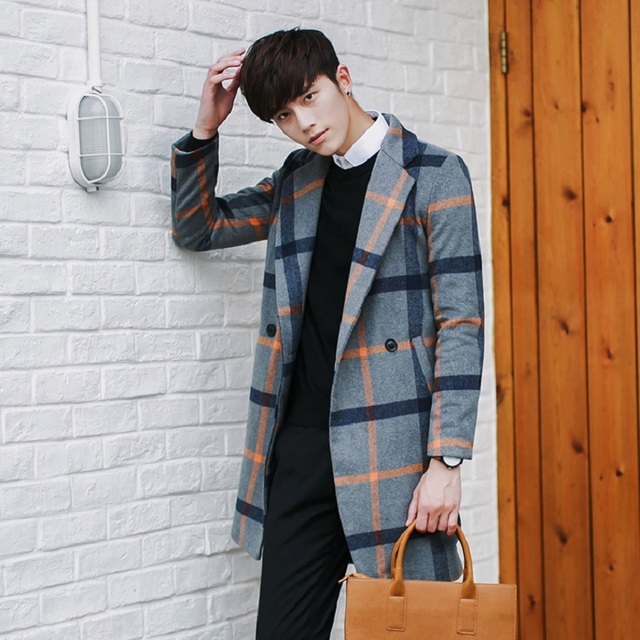 35f789428 New 2016 fashion red and orange plaid double breasted woollen winter coat  men casaco masculino men's