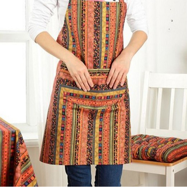 Apron Ethnic style striped pattern With Pocket