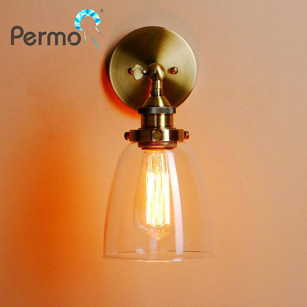 PERMO Vintage Antique Bronze Clear Glass Lampshade Wall Lamp Metal Wall Sconce Lights E27 loft Light Fixture Christmas Lights vintage pendant light exotic colored glass lampshade modern industrial bar christmas tree bedroom antique fixture retro loft