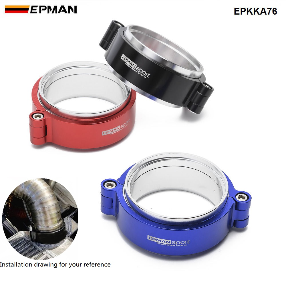 """Image 2 - Epman HD  Exhaust V band Clamp w Flange System Assenbly Anodized Clamp For 3"""" OD Turbo Dump Pipe EPKKA76-in Hangers, Clamps & Flanges from Automobiles & Motorcycles"""