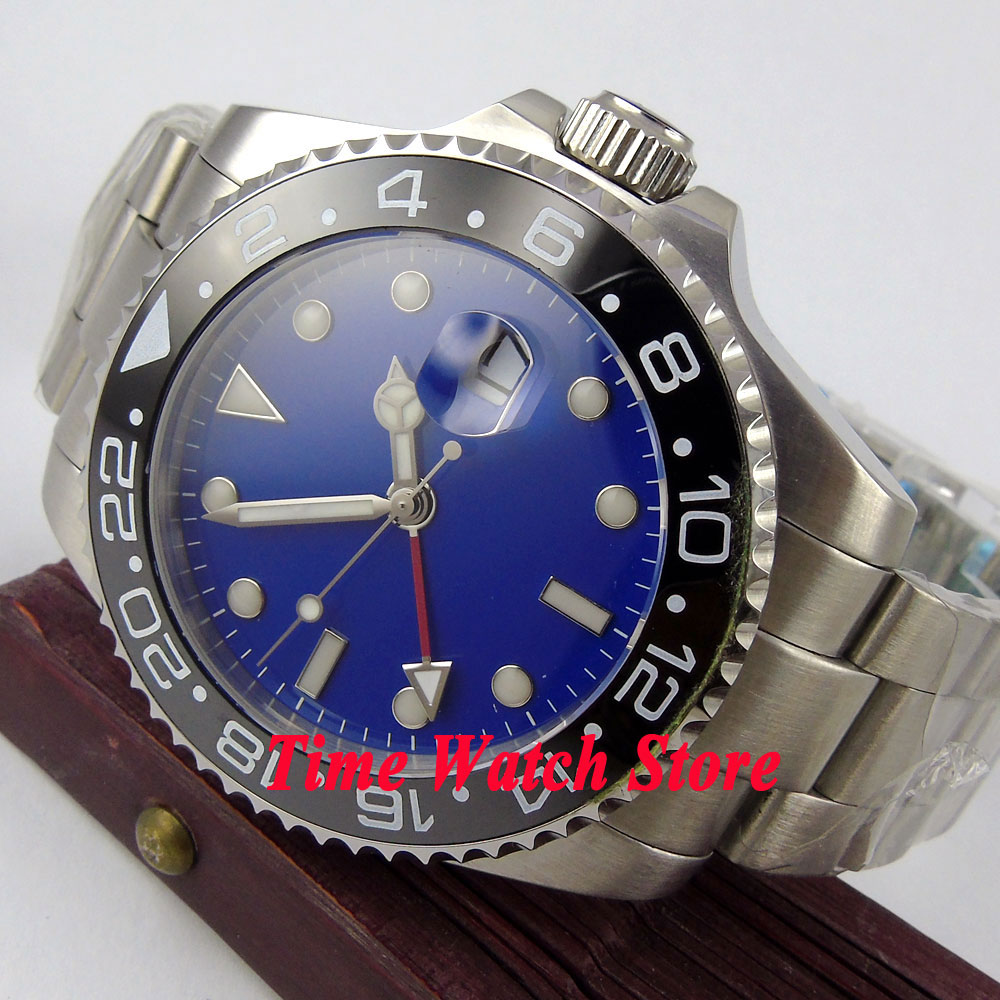 Bliger 43mm blue Sterile dial Luminous red GMT hand black Ceramic Bezel sapphire glass Automatic movement Men's watch 352 цена